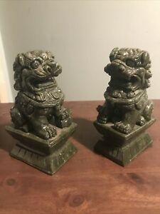 Vintage Chinese Green Temple Foo Dog Bookends Set Of 2