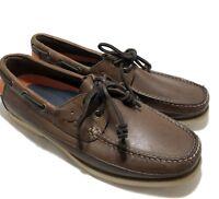 NEW, POLO RALPH LAUREN MEN'S BROWN SLIP ON BOAT SHOES, 9.5 D, $395