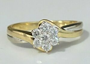 18k solid gold & 0.25CT Diamond cluster Ring 3.56g size N 1/2 -  6 3/4