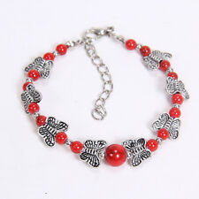 NEW DIY fashion gift of love red Tibetan silver bracelet beaded butterfly S24