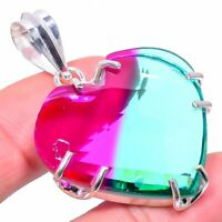 "Bi-Color Tourmaline Gemstone Handmade Ethnic Gift Jewelry Pendant 1.93"" VS-2809"