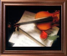 Violin & Music Sheet Red Rose Flower Wall Decor Mahogany Framed Art Picture