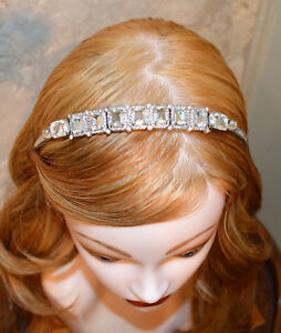 Henri Bendel New York Crystal Headband Tiara Silver