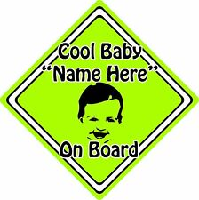 Personalised Cool Baby/Child On Board Car Sign ~ Baby Face Silhouette ~ Green