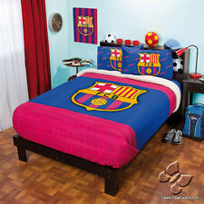 Barcelona FCB Soccer Fleece Decoration Room Blanket 5PC Comforter QUEEN Sheet NW