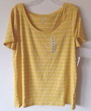 Old Navy Womens XXL Classic Cotton Modal Spandex Stretch Gold Striped Shirt Top