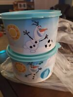 Tupperware Disney Olaf's In Summer Stacking Canisters Set Of Two 4 Cup blue lid