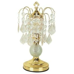 15 in. Crystal base accent On/off Touch Gold Lamp with acrylic beads