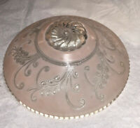 Vintage Art Deco 1930's Heavy Ceiling Light Pink Clear Frosted Lamp Shade