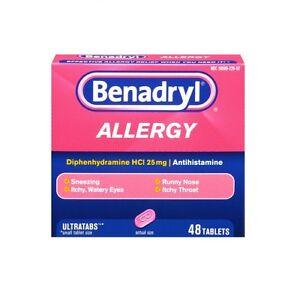 Benadryl Ultratab Allergy Medicine 25mg 48 tablets