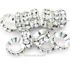 Silver/Gold Plated Crystal Rhinestone Big Hole 15Pcs Metal Spacer Beads