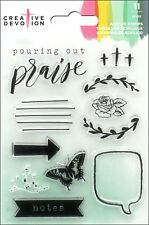 American Crafts Creative Devotion Clear Acrylic Stamp Set Praise