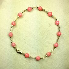 14k solid yellow gold 4mm round ball natural Pink Coral bracelet 7 1/4 inches