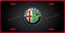 ALFA ROMEO LICENSE PLATE BLACK CARBON FIBER ILLUSION,  MAde in USA