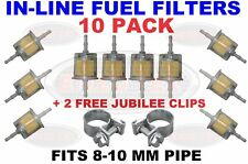10 Pack Inline Fuel Filters Large Universal Fit 8-10mm Pipes Petrol Marine Boat