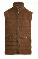 $898 Polo Ralph Lauren Mens Quilted Suede Down Brown Puffer Vest Jacket Gilet XL