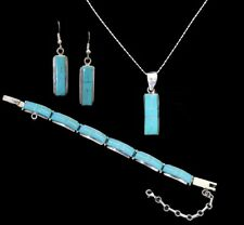 Fala Turquoise Inlay & Sterling Silver Set