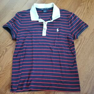 Ralph Lauren Golf Size Large Navy Blue & Red Striped Short Sleeve Polo Shirt