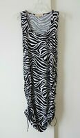 womens black white MICHAEL KORS dress zebra ruched hem sleeveless club L LARGE