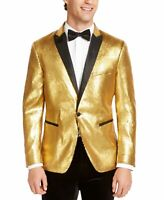 INC Mens Blazer Gold Size Medium M Sequin All Over Slim Fit One-Button $149 #123