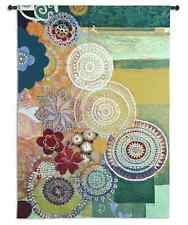 WHIMSICAL GEOMETRIC FLORAL CIRCLES ABSTRACT ART TAPESTRY WALL HANGING 52x71