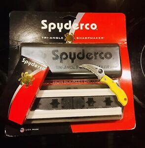 Spyderco Kit! Tri-Angle Sharpmaker + DVD + Ladybug Hawkbill Salt! New In Box!