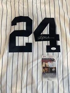 Autographed Rickey Henderson Signed Jersey #24 Baseball NY Yankees MVP HOF JSA