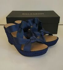 Baltarini Cobalt blue wedges with satin bow crossover. Uk 6.