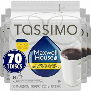 Tassimo Maxwell House Morning Blend Coffee, 70 T-Discs (5 Boxes of 14 T-Discs) {