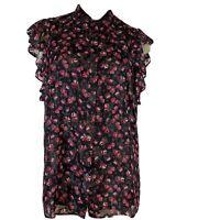 Ralph Lauren women's blouse Top pink floral shimmer size large ruffle Sleeve