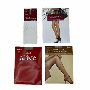 Lot - 4 Hanes Pantyhose Nude, Cream, Silky Sheer Control Top Reinforced Toe New