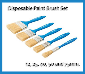 Disposable Paint Brushes Choice of 6 Sizes of Paint Brush & various Quantities