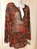 Chicos Tunic Top Size 1 (M) Burgundy Batik Print Deep V Sequin Beaded Trim  EUC