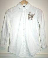 Topshop Petite Women's Casual White Cat Embroidered Long Sleeve Shirt Size UK4