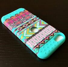 iPod Touch 5th 6th Gen - HARD&SOFT RUBBER HYBRID SKIN CASE PINK MINT BLUE AZTEC
