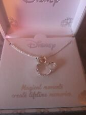 Disney Mickey Mouse Heart Necklace Swarovski Crystal 18""