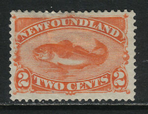 Newfoundland 1880-96 Codfish 2c red orange--Attractive Fish Topical (48) MH