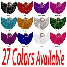 TMS Satin Full Circle Skirt Belly Dance Costume Gypsy Club Hem 9 Yards 27 Colors