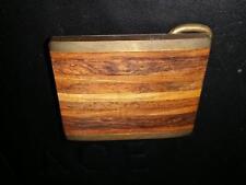 Vintage Belt Buckle Wood Design Slats with Brass Back Multi Tones