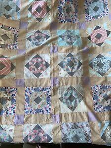 "Vintage 1930s Handmade Quilt Top Feedsack Cutter Blocks 80""X 88"""