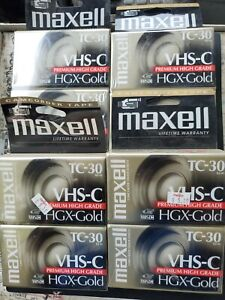 8 Maxell VHS-C TC-30 HGX-Gold Premium High Grade Camcorder Video Tapes **NEW**
