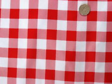 "RED PICNIC 1"" CHECK COUNTRY KITCHEN OILCLOTH VINYL SEW CRAFT DECOR FABRIC BTY"