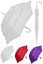 "48"" Arc Parasol Style 3-Ruffle Auto Umbrella-RainStoppers Rain/Sun UV Costume"