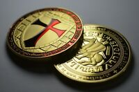 Large Masonic Knights Templar 24ct Gold Coin with Red Enamel. Freemasonry/Masons