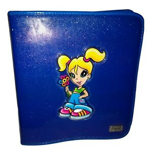 Vtg Lisa FRANK Dark Blue 3-Ring Zippered Binder Blonde Mod Girl Matching Folder