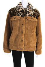 Jocelyn Womens Camel Faux Fur Teddy Jacket Brown Size Small