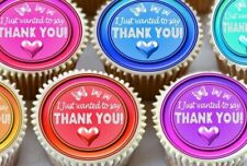 EDIBLE ICING SHEET - 24 X  THANK YOU MIXED COLOUR CUPCAKE TOPPERS 2145