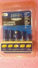 Century Drill and Tool 40100 TCT Carbide Router Bit Set, 5 Piece Set