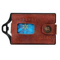 Metal Wallet Slim Wallet RFID Blocking Men Leather EDC Wallet for cash and cards
