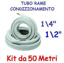 """KIT METRI 50 MT TUBO ROTOLO RAME CONDIZIONAMENTO CLIMATIZZATORE 1/4"""" + 1/2"""""""